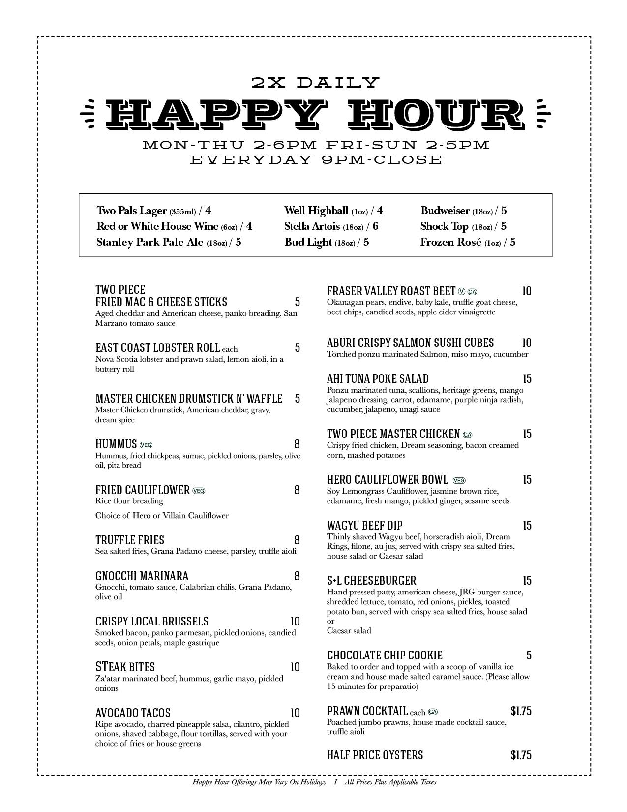 S+L Kitchen & Bar Happy Hour Menu