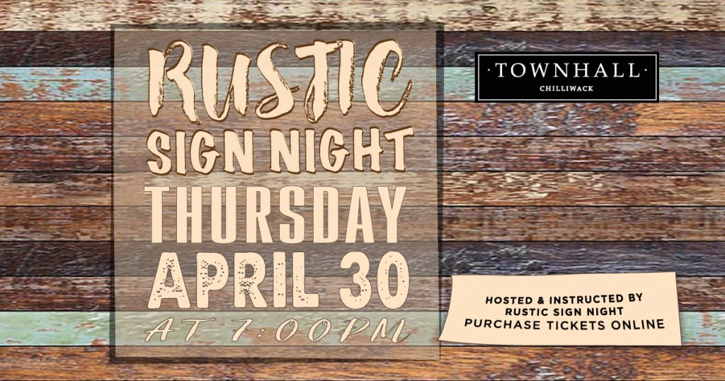 Rustic Sign Night Townhall Chilliwack