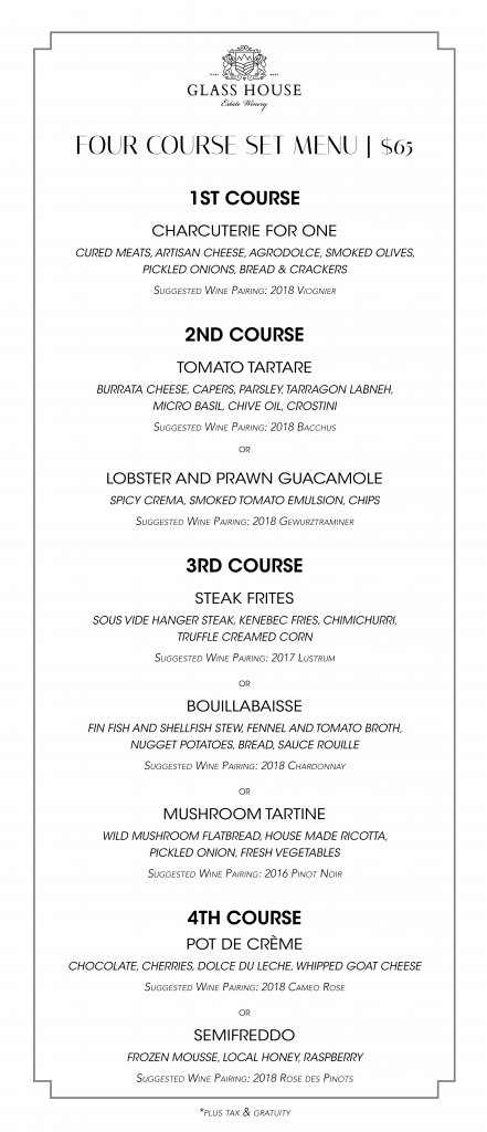 Glass House Estate Winery Set Dinner Menu