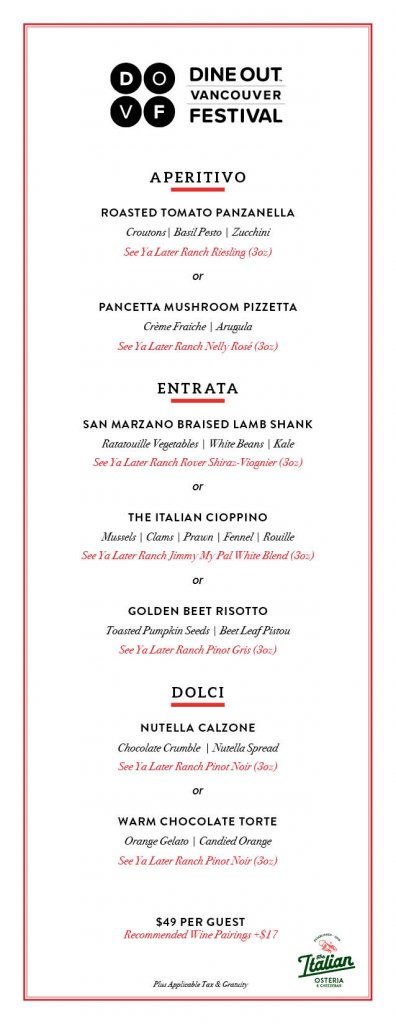 The Italian Osteria & Cheesebar Dine Out Menu